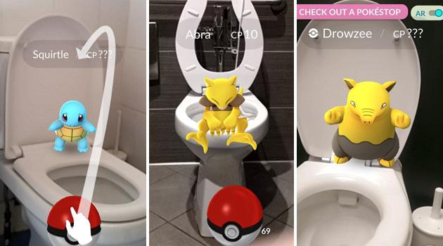 Pokémon Go no banheiro
