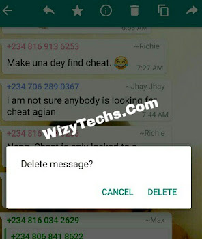 Delete whatsapp message