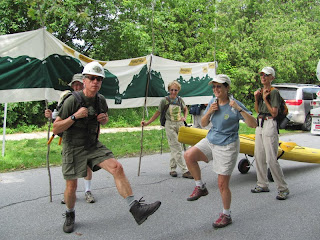While waiting for the start, our former trail manager teaches us how to march.  Step high!