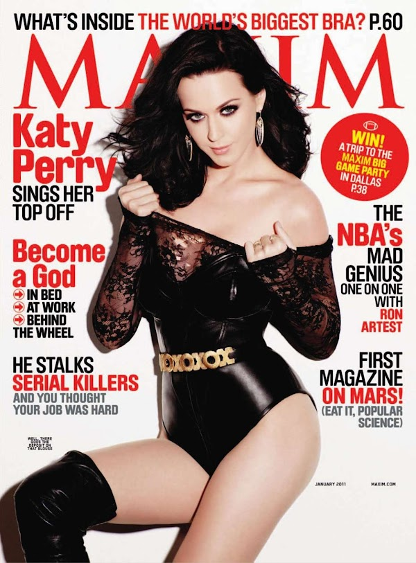 Katy Perry Wears Leather For Maxim:celebrities,cleavage0