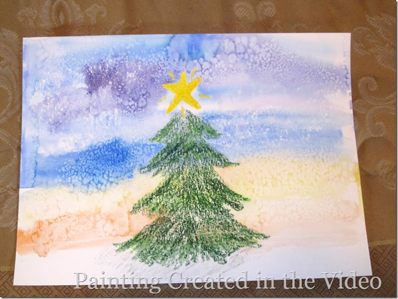 Watercolor painting with crayon resist and salt magic video tutorial for kids and parents