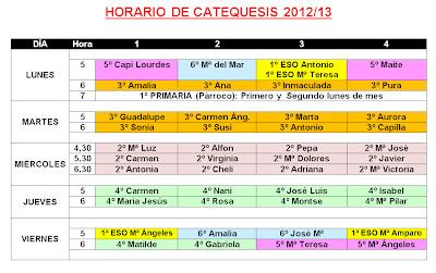 Horarios de Catequesis 2012-13 en San Pedro Poveda