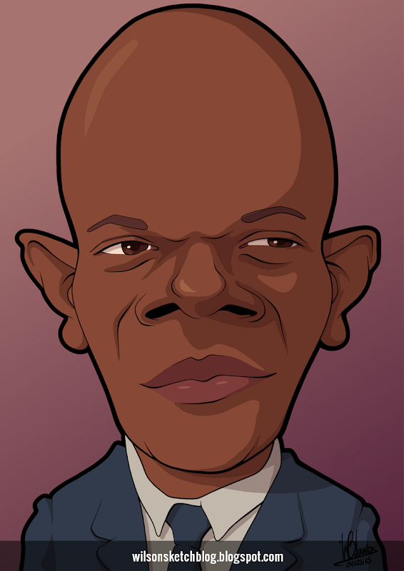 Cartoon caricature of Samuel L. Jackson.