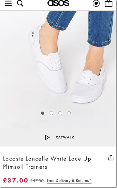 Lacoste Lancelle White Lace Up Plimsoll on asos