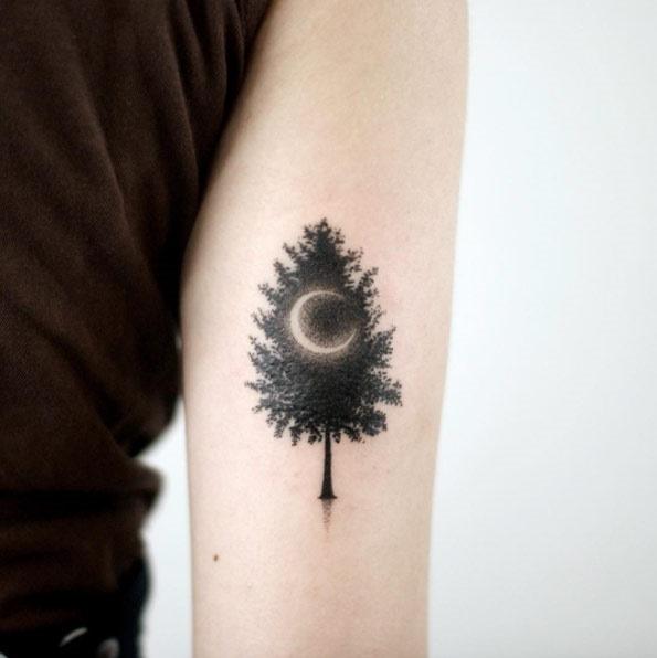 Esta meia-lua e árvore