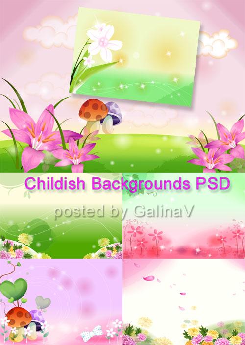 PSD-исходники Цветочные фоны для детских коллажей