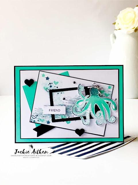 stampin up sea of textures, octopus card, artisan textures