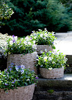 These planters were molded from wicker baskets