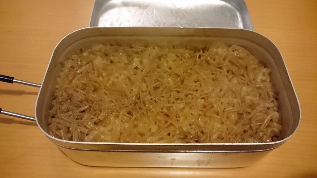 メスティンで炊くなめ茸ご飯の炊きあがりの写真