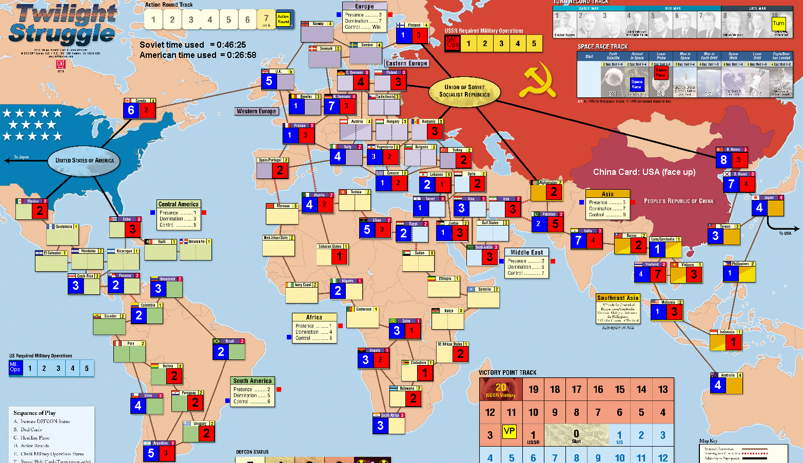 twilight Struggle, game board, board, game, tablero, Crying Grumpies