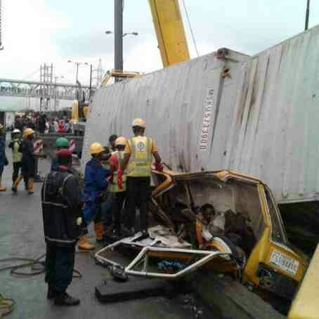 Container falls on Danfo 'crushing passengers to death in Ojota