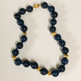 14K Gold and Lapis Lazuli Bead Necklace