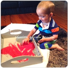 Tot school - sensory rice play with toy car