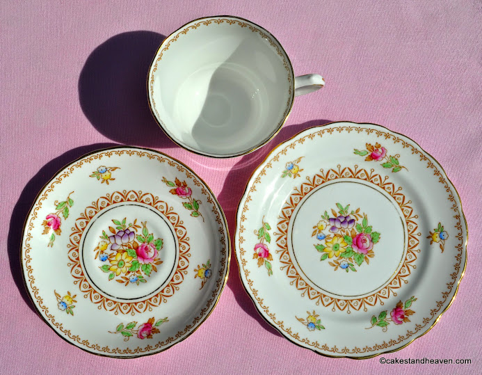 Emperor pattern floral vintage bone china trio