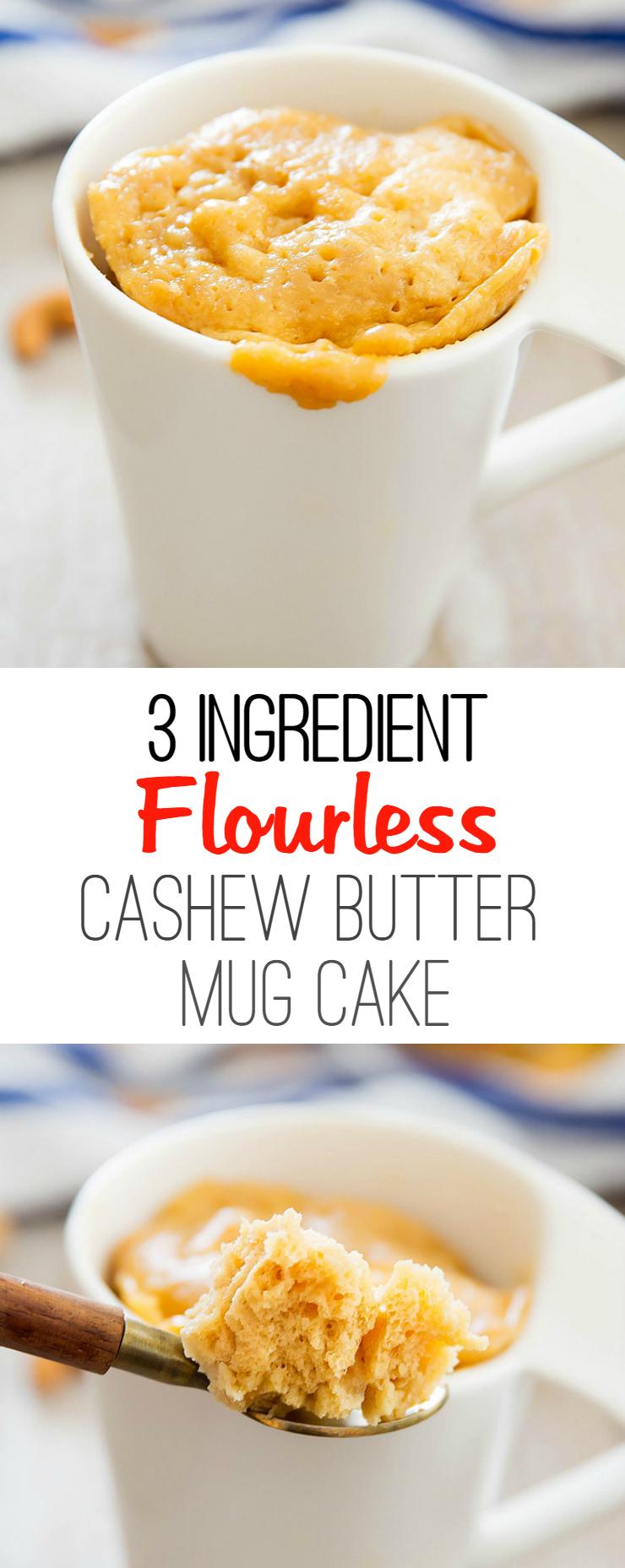 3-ingredient flourless cashew butter mug cake photo collage