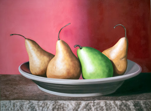 "Four Pears in a Bowl 36"" by 48"" oil on canvas. Artist Judy Prisoc"