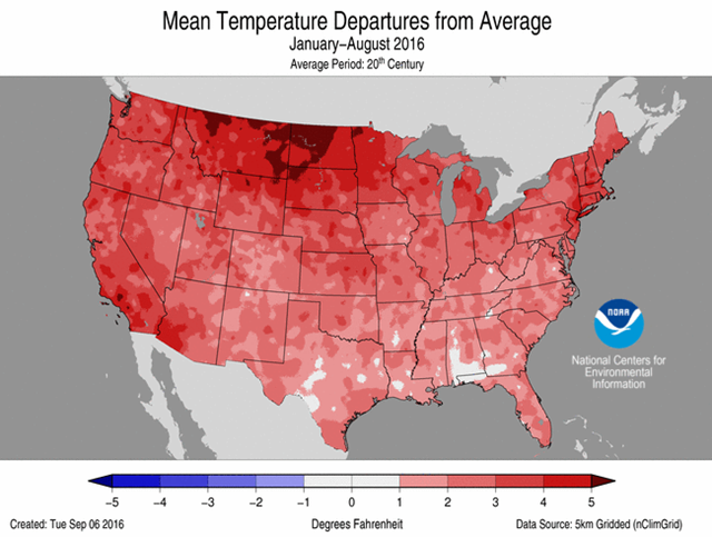 Mean temperature departures from the Jan-Aug average for the U.S. in 2016. Graphic: NOAA