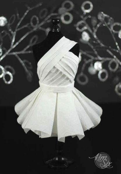 Paper dress on dress form