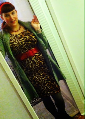 leopard print wiggle dres and long duster cardigan in grey or a woggle dress at work look