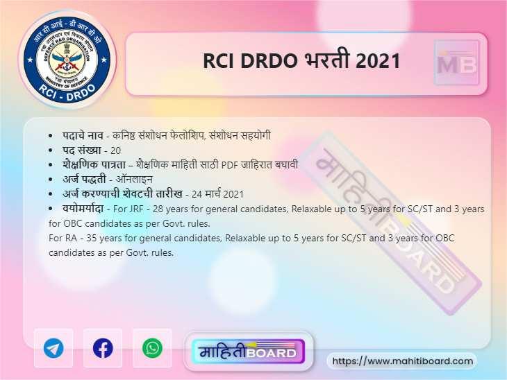 RCI DRDO Recruitment 2021