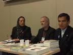 Fanny Ochoa, Mansur Escudero y Juliám Zapata durante la presentación de las publicaciones de Junta Islámica de España
