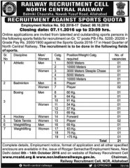 NCR Recruitment against Sports Quota 2016-17 www.indgovtjobs.in