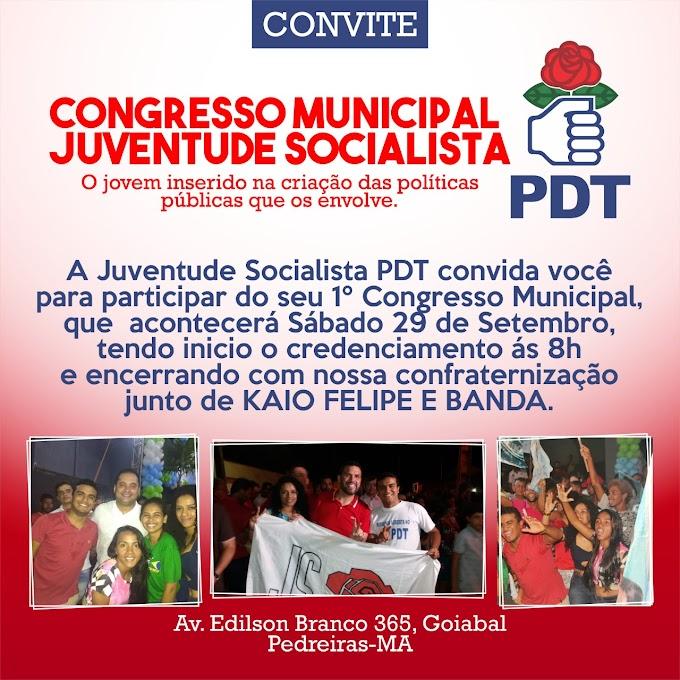 Acontecera amanhã o Primeiro Congresso da JSPDT Pedreiras.