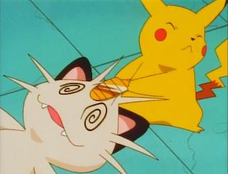Pikachu mugs meowth