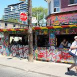 colorful restaurants in Kensington Market, Toronto in Toronto, Ontario, Canada