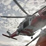 9 October 2011. Coastguard helicopter 106 overhead Poole ALB. PhotoL Poole RNLI/Ade