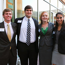 Dean's Scholars  Hayden Asquith,  Zack Cook, Cley Knighten and Hanna Ahmad stop to take a photo at the 2012 Benefactor Dinner.