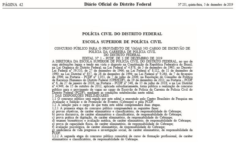 Edital PCDF Escrivão: Diário Oficial