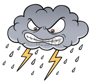 20275357 illustration of cartoon clouds with thunder