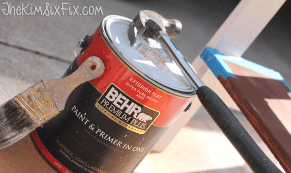 Painting table with exterior paint