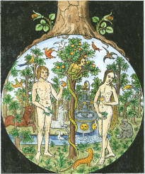 Woodcut Of Temptation Of Adam And Eve France Around 1500, Emblems Related To Alchemy