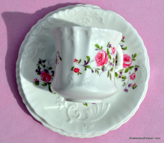 Pink Roses and Violets pattern vintage china trio