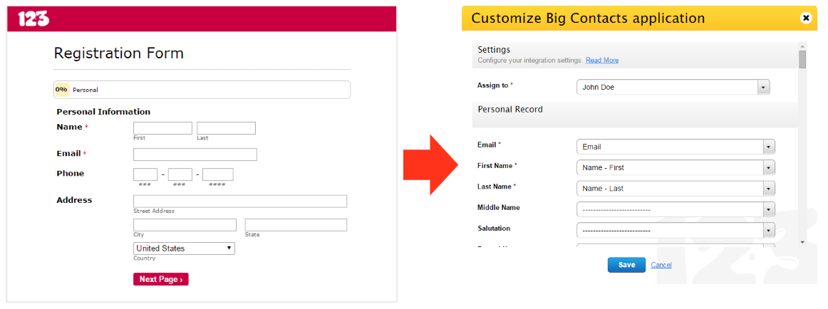 Big Contacts integration | 123ContactForm