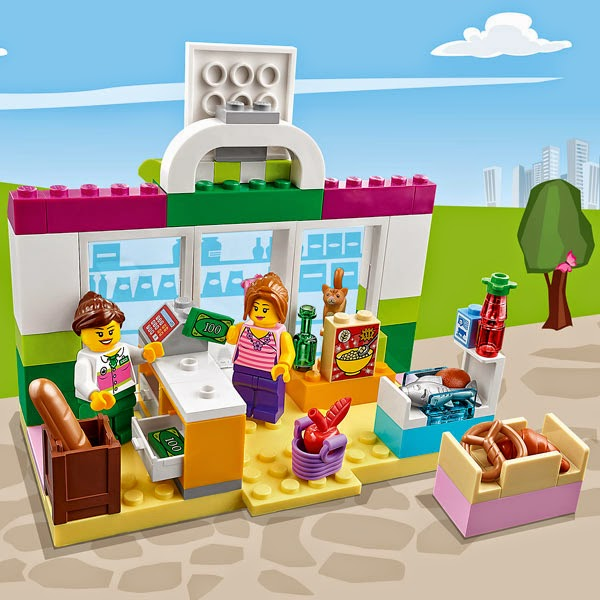 Bên trong Siêu thị Lego Juniors 10684 Supermarket Suitcase
