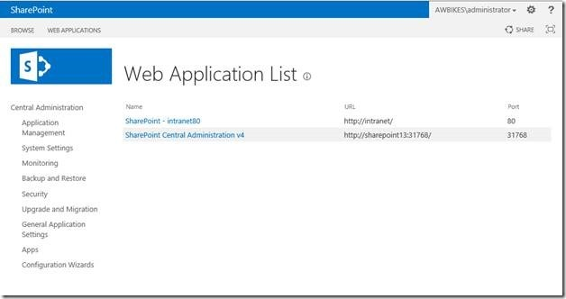 SharePoint Web Applications List