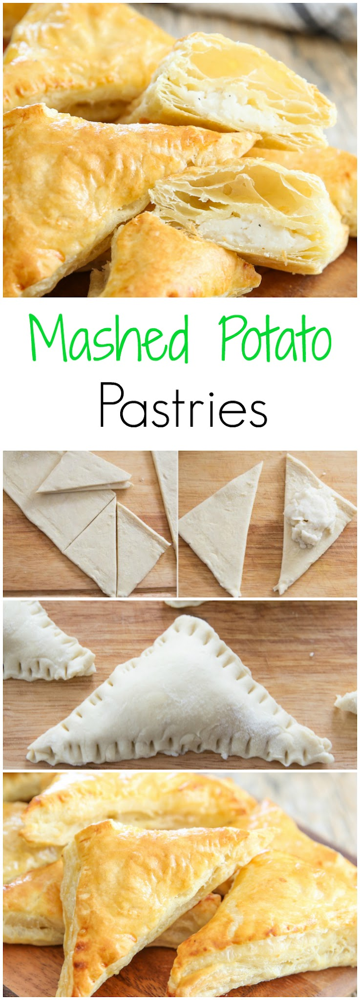 mashed potato pastries photo collage