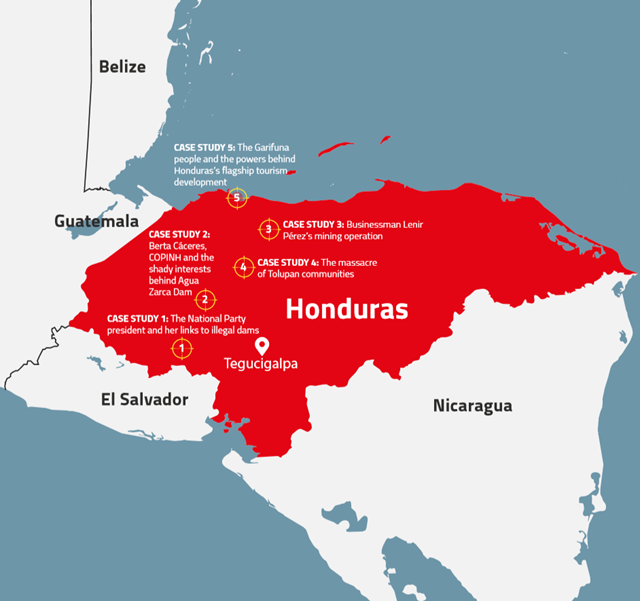Map of murders and massacres of environmental activists and indigenous people in Honduras. These cases are studied in the Global Witness report, 'Honduras: The deadliest place to defend the planet'. Graphic: Global Witness