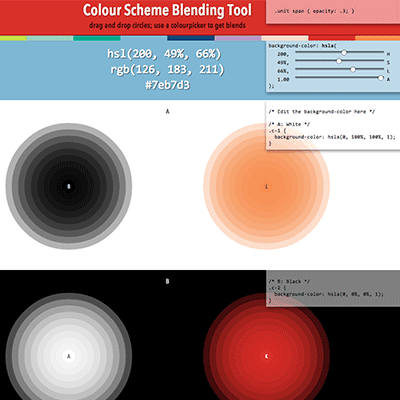 Colour Scheme Blending tool screenshot · design Atelier Bram de Haan
