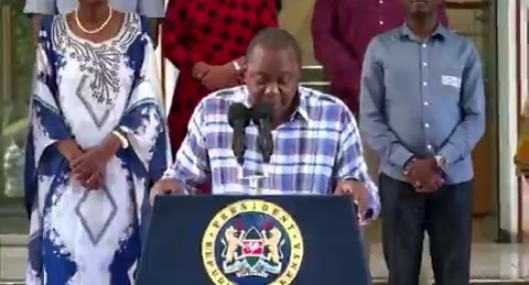 President Uhuru Kenyatta giving national address at Harambee house