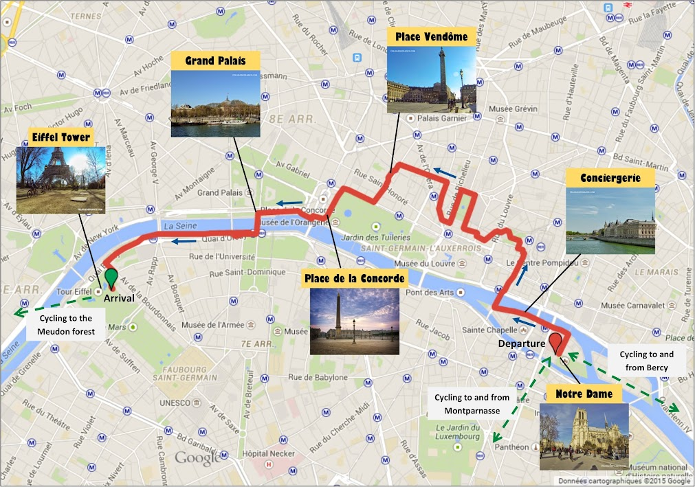 Cycling route map in Paris from Notre-Dame to the Eiffel Tower by veloiledefrance.com