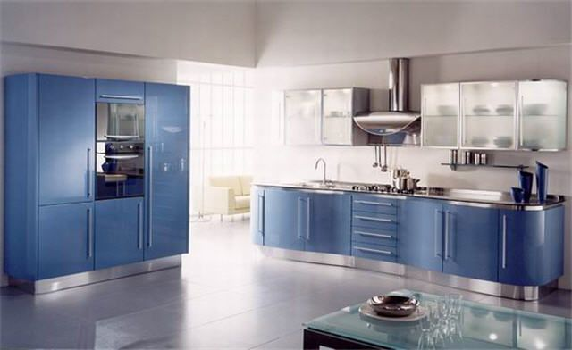 futuristic design blue kitchen modern stylish look design chrome