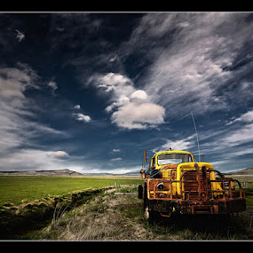 Yellow Truck by Þorsteinn H. Ingibergsson - Transportation Other ( clouds, iceland, sky, nature, truck, structor, landscape )