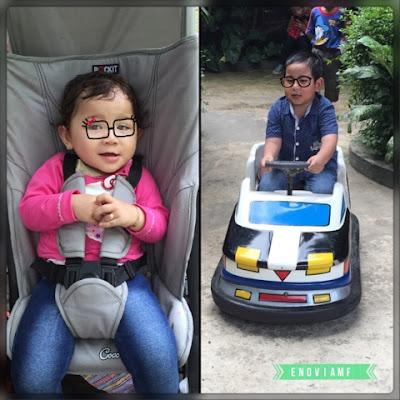 Arfan dan Aysha di arena bermain Taman Topi