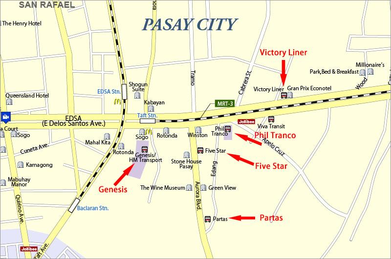 パサイのバス会社の場所