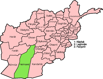 Map of the provinces of Afghanistan, with ISO standard names
