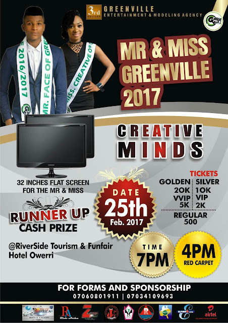 Mr and Miss Greenville gets a boost register now and shoot to fame.